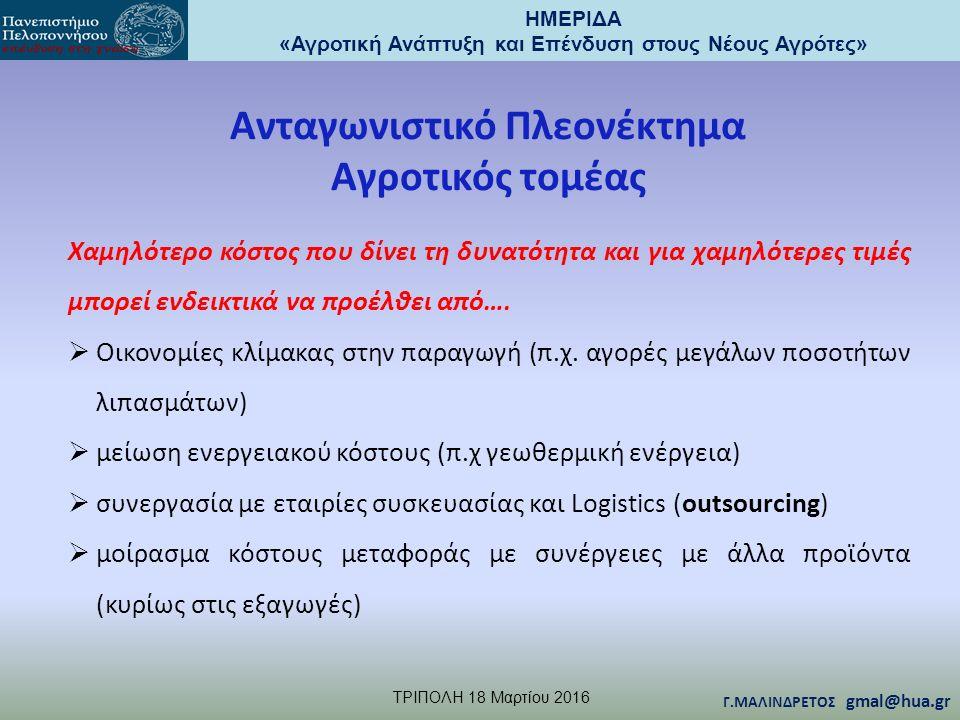 ΗΜΕΡΙΔΑ «Αγροτική Ανάπτυξη και Επένδυση στους Νέους Αγρότες» TΡΙΠΟΛΗ 18 Μαρτίου 2016 Γ.ΜΑΛΙΝΔΡΕΤΟΣ gmal@hua.gr Ανταγωνιστικό Πλεονέκτημα Αγροτικός τομ