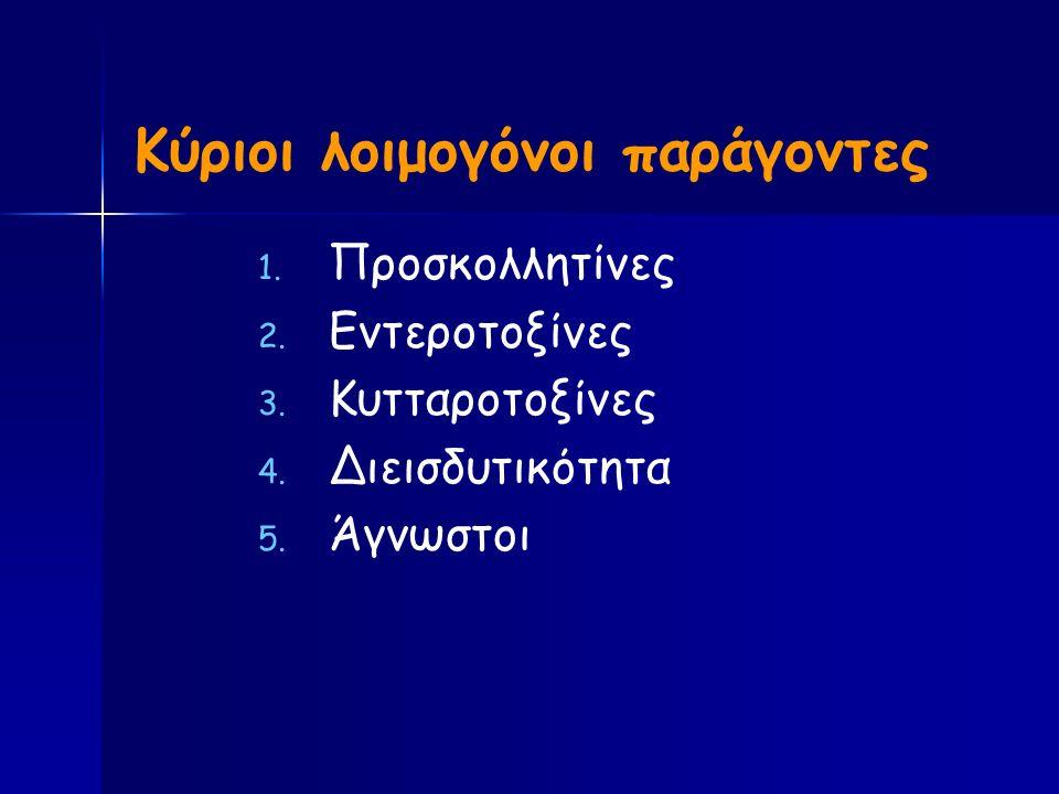 Κύριοι λοιμογόνοι παράγοντες 1. 1. Προσκολλητίνες 2.