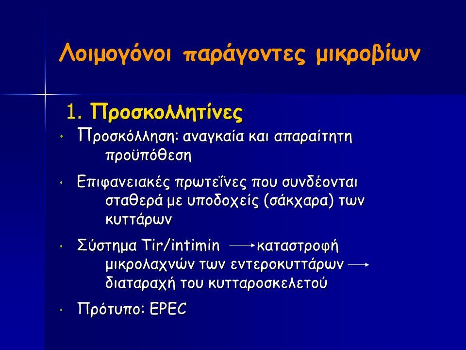 Λοιμογόνοι παράγοντες μικροβίων 1. Προσκoλλητίνες 1.