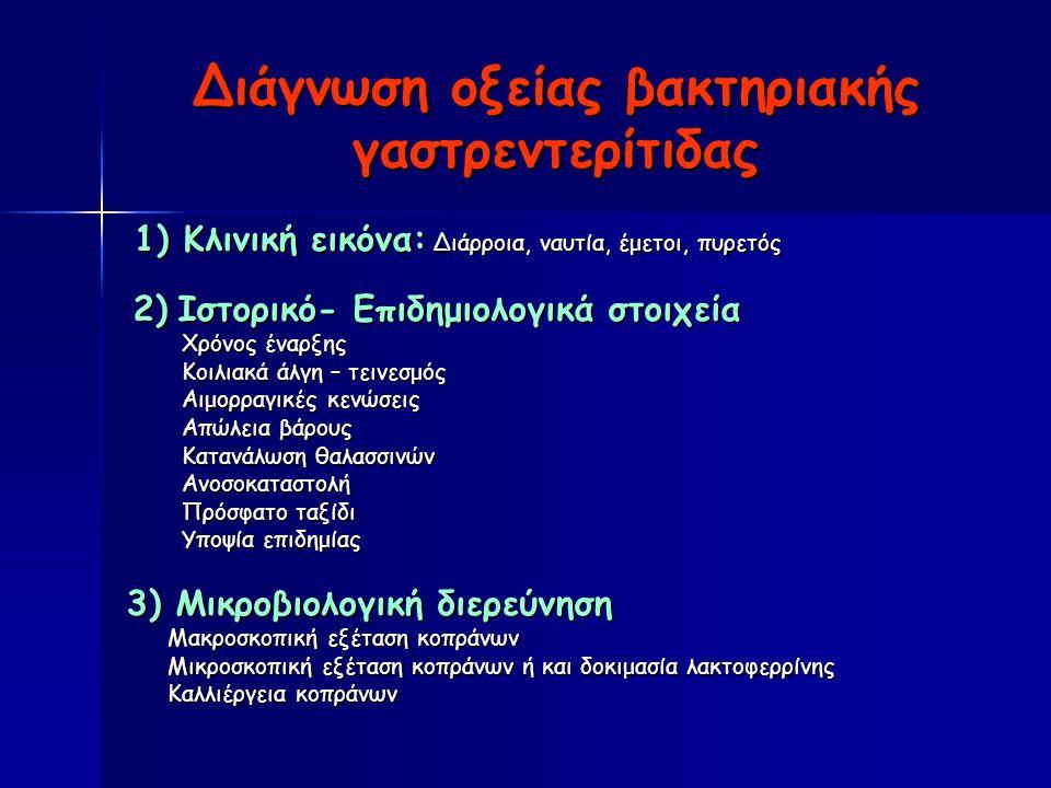 Διάγνωση οξείας βακτηριακής γαστρεντερίτιδας 1) Κλινική εικόνα: Διάρροια, ναυτία, έμετοι, πυρετός 1) Κλινική εικόνα: Διάρροια, ναυτία, έμετοι, πυρετός 2) Ιστορικό- Επιδημιολογικά στοιχεία 2) Ιστορικό- Επιδημιολογικά στοιχεία Χρόνος έναρξης Χρόνος έναρξης Κοιλιακά άλγη – τεινεσμός Κοιλιακά άλγη – τεινεσμός Αιμορραγικές κενώσεις Αιμορραγικές κενώσεις Απώλεια βάρους Απώλεια βάρους Κατανάλωση θαλασσινών Κατανάλωση θαλασσινών Ανοσοκαταστολή Ανοσοκαταστολή Πρόσφατο ταξίδι Πρόσφατο ταξίδι Υποψία επιδημίας Υποψία επιδημίας 3) Μικροβιολογική διερεύνηση Μακροσκοπική εξέταση κοπράνων Μακροσκοπική εξέταση κοπράνων Μικροσκοπική εξέταση κοπράνων ή και δοκιμασία λακτοφερρίνης Μικροσκοπική εξέταση κοπράνων ή και δοκιμασία λακτοφερρίνης Καλλιέργεια κοπράνων Καλλιέργεια κοπράνων
