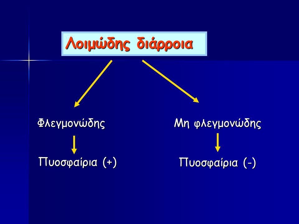 Πυοσφαίρια (+) Λοιμώδης διάρροια Μη φλεγμονώδης Πυοσφαίρια (-) Φλεγμονώδης