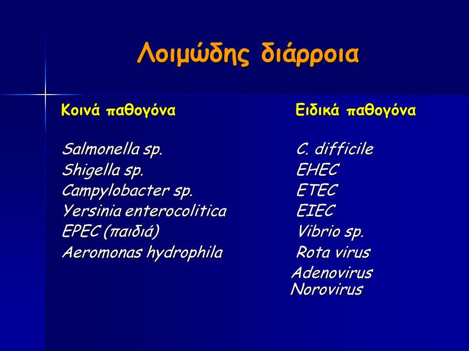 Λοιμώδης διάρροια Κοινά παθογόναΕιδικά παθογόνα Salmonella sp.C.