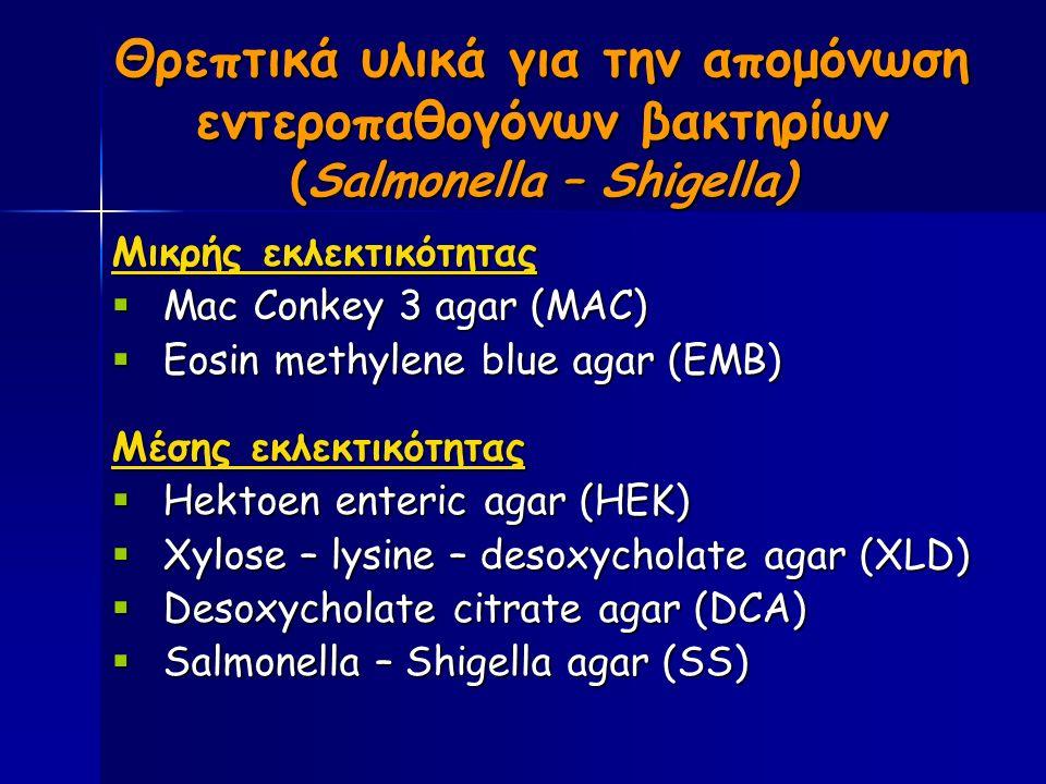 Θρεπτικά υλικά για την απομόνωση εντεροπαθογόνων βακτηρίων (Salmonella – Shigella) Μικρής εκλεκτικότητας  Mac Conkey 3 agar (MAC)  Eosin methylene blue agar (EMB) Μέσης εκλεκτικότητας  Hektoen enteric agar (HEK)  Xylose – lysine – desoxycholate agar (XLD)  Desoxycholate citrate agar (DCA)  Salmonella – Shigella agar (SS)