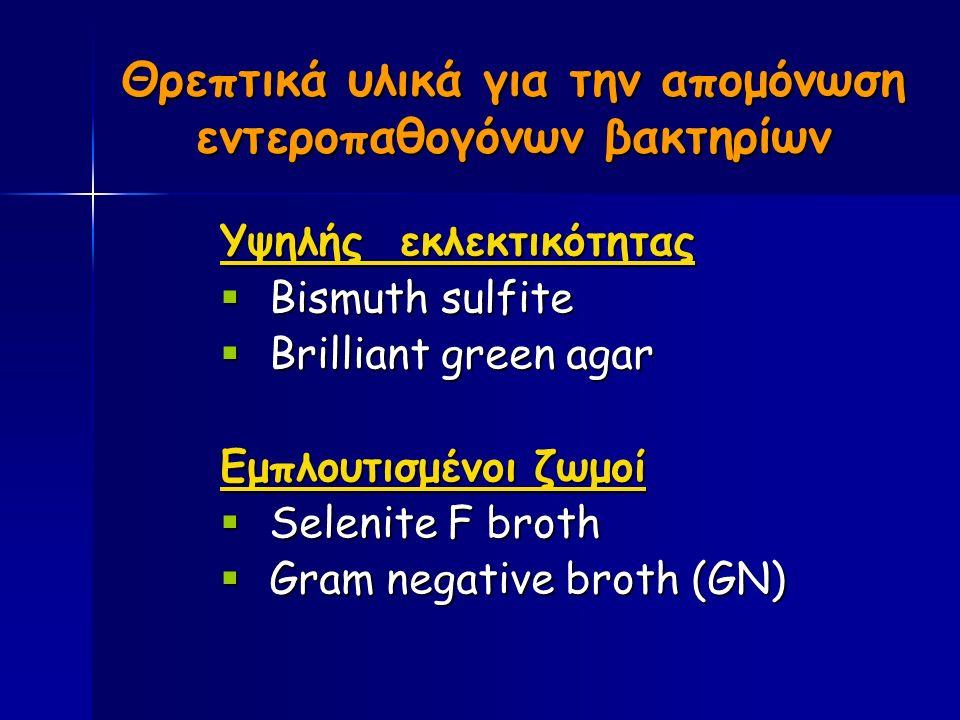 Θρεπτικά υλικά για την απομόνωση εντεροπαθογόνων βακτηρίων Υψηλής εκλεκτικότητας  Bismuth sulfite  Brilliant green agar Εμπλουτισμένοι ζωμοί  Selenite F broth  Gram negative broth (GN)