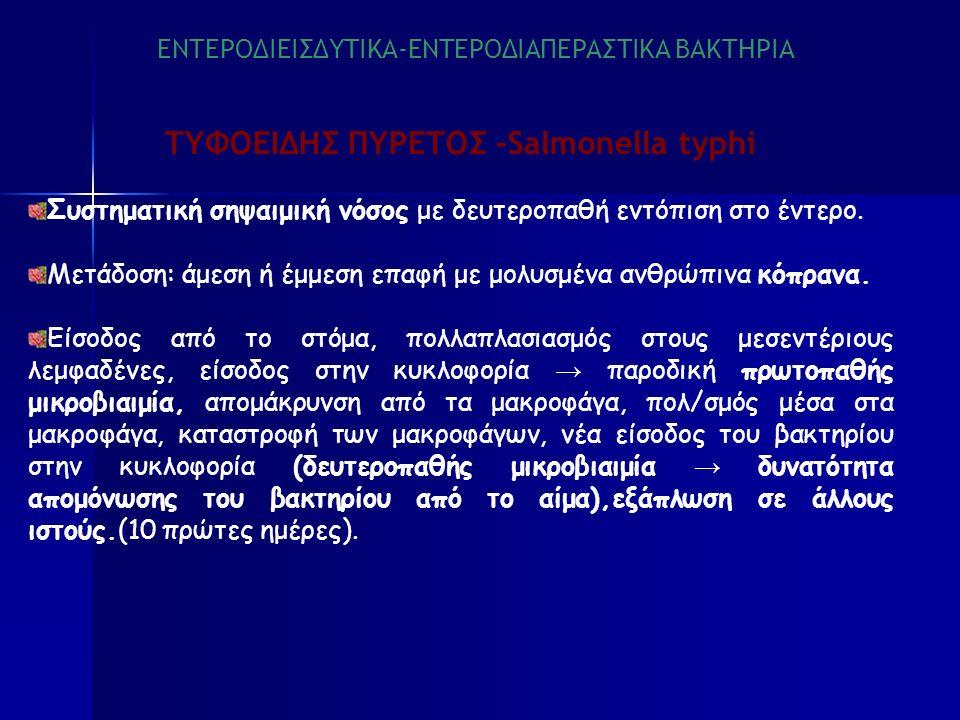 ΤΥΦΟΕΙΔΗΣ ΠΥΡΕΤΟΣ -Salmonella typhi Συστηματική σηψαιμική νόσος με δευτεροπαθή εντόπιση στο έντερο.
