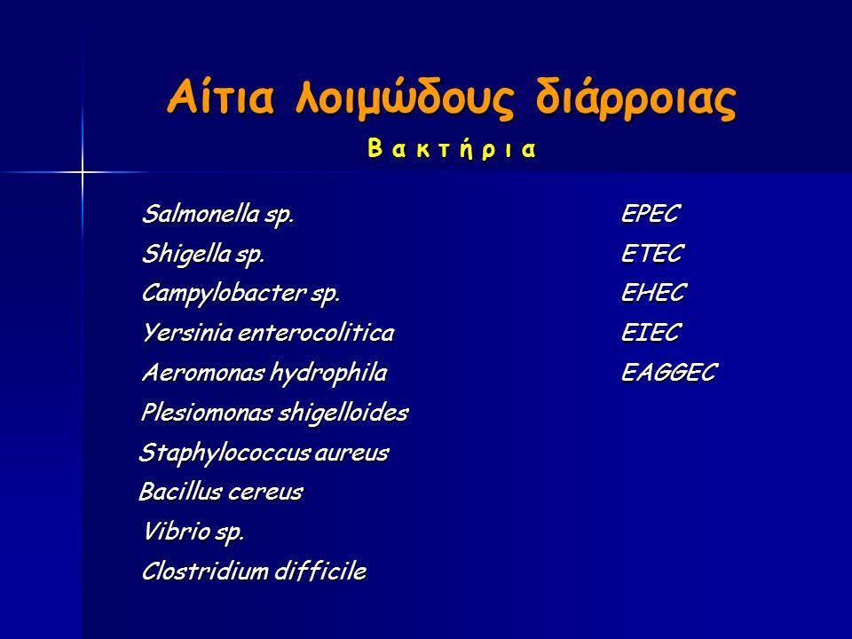 Αίτια λοιμώδους διάρροιας Β α κ τ ή ρ ι α Salmonella sp.EPEC Shigella sp.ETEC Campylobacter sp.EHEC Yersinia enterocoliticaEIEC Aeromonas hydrophilaEAGGEC Plesiomonas shigelloides Staphylococcus aureus Staphylococcus aureus Bacillus cereus Bacillus cereus Vibrio sp.