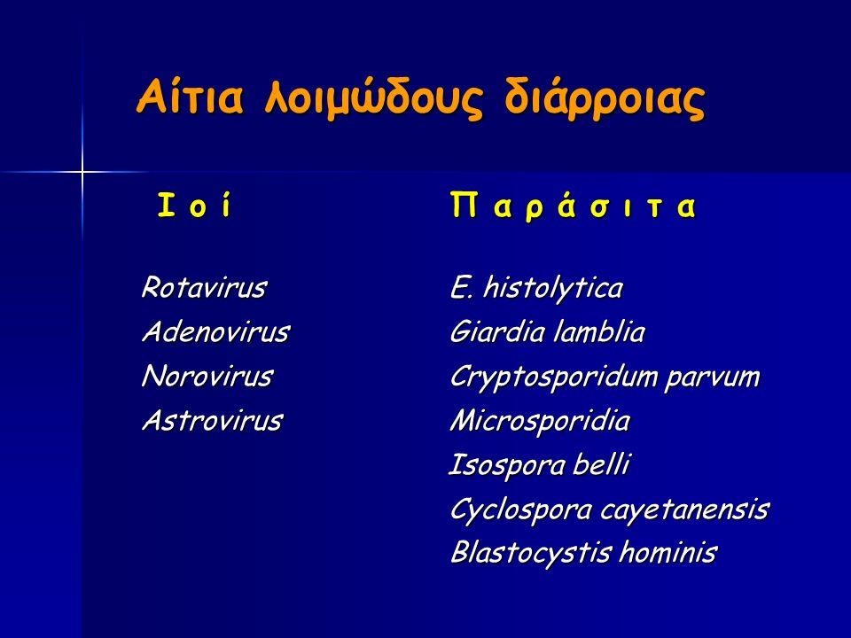 Αίτια λοιμώδους διάρροιας Ι ο ί Π α ρ ά σ ι τ α Ι ο ί Π α ρ ά σ ι τ α RotavirusE.