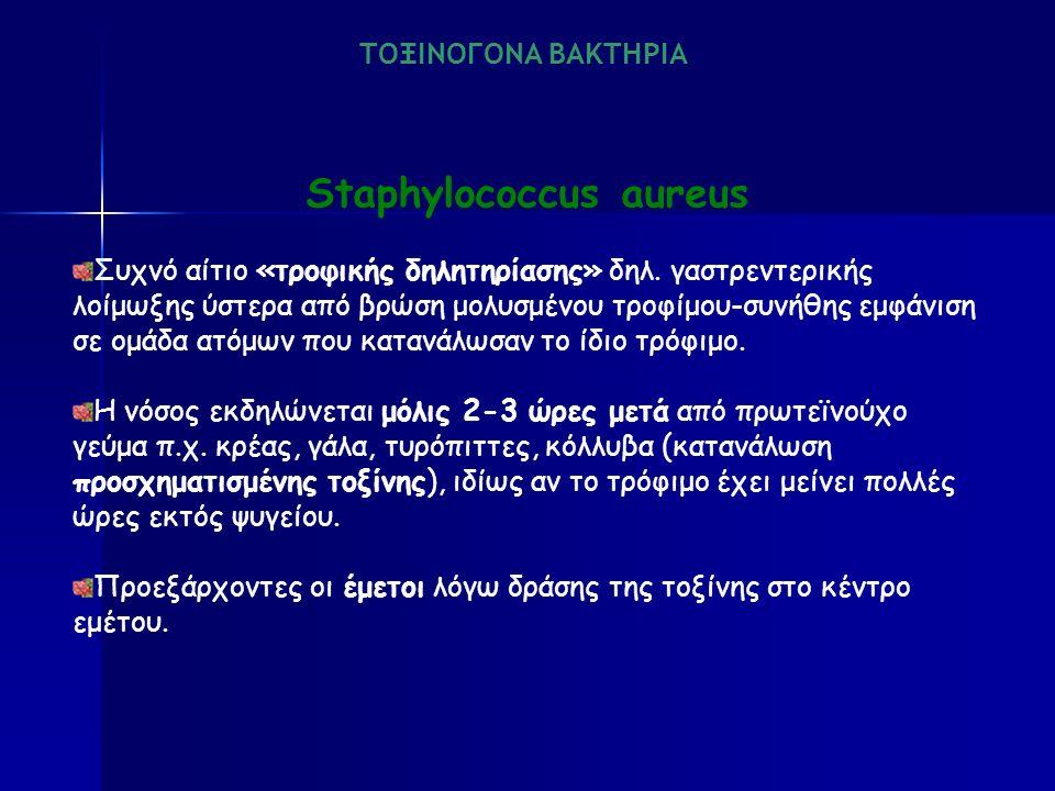 Staphylococcus aureus Συχνό αίτιο «τροφικής δηλητηρίασης» δηλ.