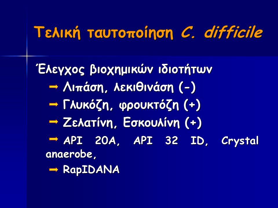 Έλεγχος βιοχημικών ιδιοτήτων Λιπάση, λεκιθινάση (-) Γλυκόζη, φρουκτόζη (+) Ζελατίνη, Εσκουλίνη (+) API 20A, API 32 ID, Crystal anaerobe, RapIDANA Τελική ταυτοποίηση C.