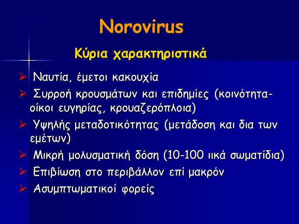 Norovirus Κύρια χαρακτηριστικά Κύρια χαρακτηριστικά  Ναυτία, έμετοι κακουχία  Συρροή κρουσμάτων και επιδημίες (κοινότητα- οίκοι ευγηρίας, κρουαζερόπλοια)  Υψηλής μεταδοτικότητας (μετάδοση και δια των εμέτων)  Μικρή μολυσματική δόση (10-100 ιικά σωματίδια)  Επιβίωση στο περιβάλλον επί μακρόν  Ασυμπτωματικοί φορείς