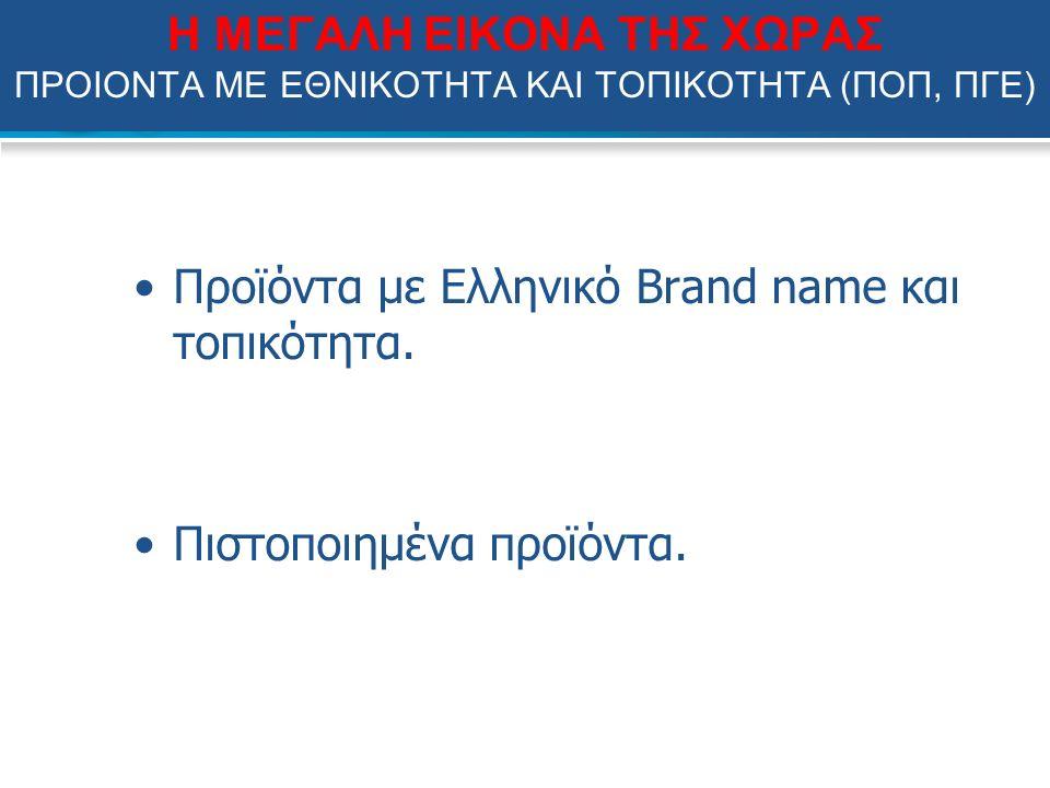 Η ΜΕΓΑΛΗ ΕΙΚΟΝΑ ΤΗΣ ΧΩΡΑΣ ΠΡΟΙΟΝΤΑ ΜΕ ΕΘΝΙΚΟΤΗΤΑ ΚΑΙ ΤΟΠΙΚΟΤΗΤΑ (ΠΟΠ, ΠΓΕ) Προϊόντα με Ελληνικό Brand name και τοπικότητα.