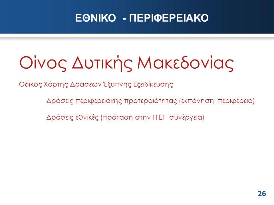 26 Οίνος Δυτικής Μακεδονίας Οδικός Χάρτης Δράσεων Έξυπνης Εξειδίκευσης Δράσεις περιφερειακής προτεραιότητας (εκπόνηση περιφέρεια) Δράσεις εθνικές (πρόταση στην ΓΓΕΤ συνέργεια) ΕΘΝΙΚΟ - ΠΕΡΙΦΕΡΕΙΑΚΟ