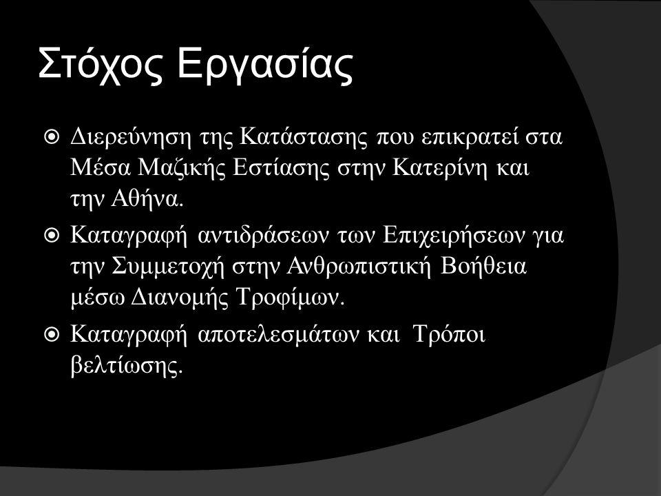 Στόχος Εργασίας  Διερεύνηση της Κατάστασης που επικρατεί στα Μέσα Μαζικής Εστίασης στην Κατερίνη και την Αθήνα.  Καταγραφή αντιδράσεων των Επιχειρήσ