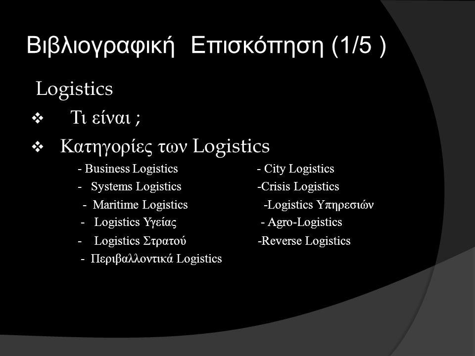 Βιβλιογραφική Επισκόπηση (1/5 ) Logistics  Τι είναι ;  Κατηγορίες των Logistics - Business Logistics - City Logistics - Systems Logistics -Crisis Logistics - Maritime Logistics -Logistics Υπηρεσιών - Logistics Υγείας - Agro-Logistics - Logistics Στρατού -Reverse Logistics - Περιβαλλοντικά Logistics