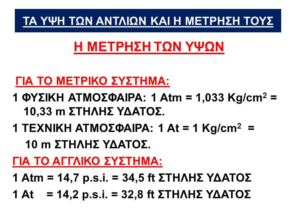 ΤΑ ΥΨΗ ΤΩΝ ΑΝΤΛΙΩΝ ΚΑΙ Η ΜΕΤΡΗΣΗ ΤΟΥΣ Η ΜΕΤΡΗΣΗ ΤΩΝ ΥΨΩΝ ΓΙΑ ΤΟ ΜΕΤΡΙΚΟ ΣΥΣΤΗΜΑ: 1 ΦΥΣΙΚΗ ΑΤΜΟΣΦΑΙΡΑ: 1 Αtm = 1,033 Κg/cm 2 = 10,33 m ΣΤΗΛΗΣ ΥΔΑΤΟΣ.