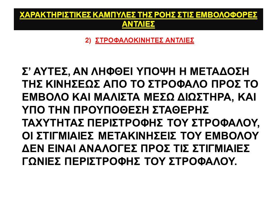 ΧΑΡΑΚΤΗΡΙΣΤΙΚΕΣ ΚΑΜΠΥΛΕΣ ΤΗΣ ΡΟΗΣ ΣΤΙΣ ΕΜΒΟΛΟΦΟΡΕΣ ΑΝΤΛΙΕΣ 2) ΣΤΡΟΦΑΛΟΚΙΝΗΤΕΣ ΑΝΤΛΙΕΣ Σ' ΑΥΤΕΣ, ΑΝ ΛΗΦΘΕΙ ΥΠΟΨΗ Η ΜΕΤΑΔΟΣΗ ΤΗΣ ΚΙΝΗΣΕΩΣ ΑΠΟ ΤΟ ΣΤΡΟΦΑΛΟ ΠΡΟΣ ΤΟ ΕΜΒΟΛΟ ΚΑΙ MΑΛΙΣΤΑ ΜΕΣΩ ΔΙΩΣΤΗΡΑ, ΚΑΙ ΥΠΟ ΤΗΝ ΠΡΟΥΠΟΘΕΣΗ ΣΤΑΘΕΡΗΣ ΤΑΧΥΤΗΤΑΣ ΠΕΡΙΣΤΡΟΦΗΣ ΤΟΥ ΣΤΡΟΦΑΛΟΥ, ΟΙ ΣΤΙΓΜΙΑΙΕΣ ΜΕΤΑΚΙΝΗΣΕΙΣ ΤΟΥ ΕΜΒΟΛΟΥ ΔΕΝ ΕΙΝΑΙ ΑΝΑΛΟΓΕΣ ΠΡΟΣ ΤΙΣ ΣΤΙΓΜΙΑΙΕΣ ΓΩΝΙΕΣ ΠΕΡΙΣΤΡΟΦΗΣ ΤΟΥ ΣΤΡΟΦΑΛΟΥ.