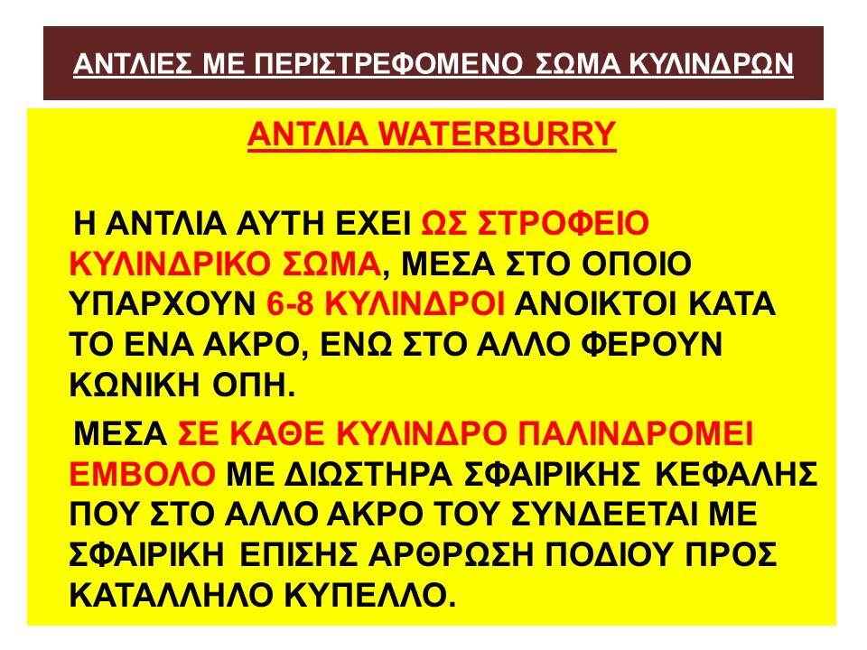 ΑΝΤΛΙΕΣ ΜΕ ΠΕΡΙΣΤΡΕΦΟΜΕΝΟ ΣΩΜΑ ΚΥΛΙΝΔΡΩΝ ΑΝΤΛΙA WATERBURRY Η ΑΝΤΛΙΑ ΑΥΤΗ ΕΧΕΙ ΩΣ ΣΤΡΟΦΕΙΟ ΚΥΛΙΝΔΡΙΚΟ ΣΩΜΑ, ΜΕΣΑ ΣΤΟ ΟΠΟΙΟ ΥΠΑΡΧΟΥΝ 6-8 ΚΥΛΙΝΔΡΟΙ ΑΝΟΙΚΤΟΙ ΚΑΤΑ ΤΟ ΕΝΑ ΑΚΡΟ, ΕΝΩ ΣΤΟ ΑΛΛΟ ΦΕΡΟΥΝ ΚΩΝΙΚΗ ΟΠΗ.