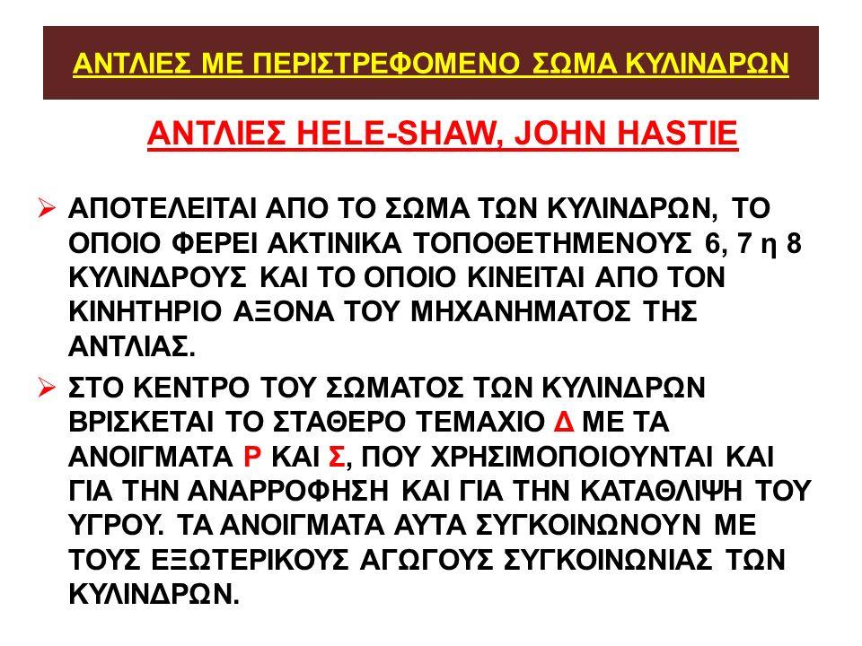 ΑΝΤΛΙΕΣ ΜΕ ΠΕΡΙΣΤΡΕΦΟΜΕΝΟ ΣΩΜΑ ΚΥΛΙΝΔΡΩΝ ΑΝΤΛΙΕΣ ΗELE-SHAW, JOHN HASTIE  ΑΠΟΤΕΛΕΙΤΑΙ ΑΠΟ ΤΟ ΣΩΜΑ ΤΩΝ ΚΥΛΙΝΔΡΩΝ, ΤΟ ΟΠΟΙΟ ΦΕΡΕΙ ΑΚΤΙΝΙΚΑ ΤΟΠΟΘΕΤΗΜΕΝΟΥΣ 6, 7 η 8 ΚΥΛΙΝΔΡΟΥΣ ΚΑΙ ΤΟ ΟΠΟΙΟ ΚΙΝΕΙΤΑΙ ΑΠΟ ΤΟΝ ΚΙΝΗΤΗΡΙΟ ΑΞΟΝΑ ΤΟΥ ΜΗΧΑΝΗΜΑΤΟΣ ΤΗΣ ΑΝΤΛΙΑΣ.