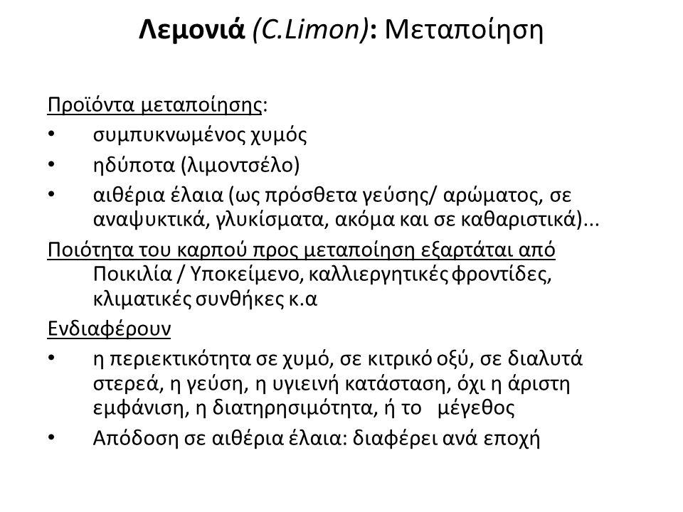 Ποικιλίες Λεμονιάς (1) 1,Μαγληνή: ορθόκλαδη, μονόφορη, με αγκάθια, ευαίσθητη στην Κορυφοξήρα.