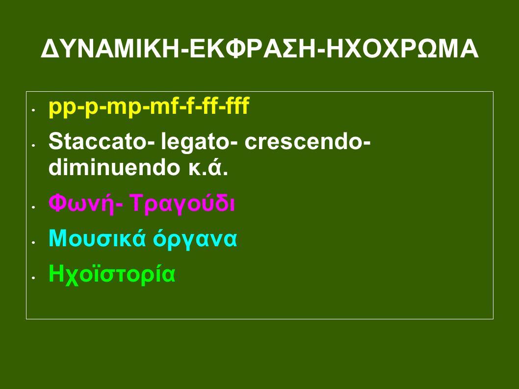 ΔΥΝΑΜΙΚΗ-ΕΚΦΡΑΣΗ-ΗΧΟΧΡΩΜΑ pp-p-mp-mf-f-ff-fff Staccato- legato- crescendo- diminuendo κ.ά.