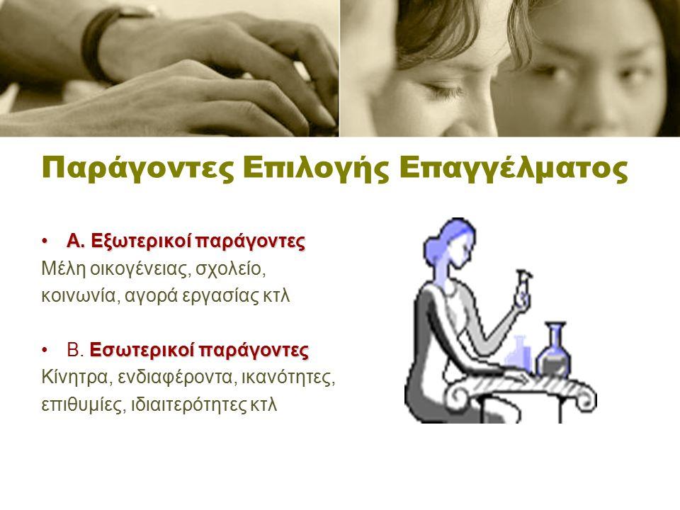 Παράγοντες Επιλογής Επαγγέλματος Α. Εξωτερικοί παράγοντεςΑ.