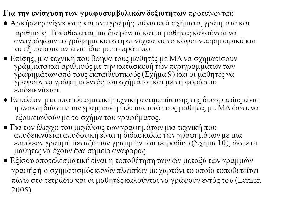 Για την ενίσχυση των γραφοσυμβολικών δεξιοτήτων προτείνονται: ● Ασκήσεις ανίχνευσης και αντιγραφής: πάνω από σχήματα, γράμματα και αριθμούς. Τοποθετεί