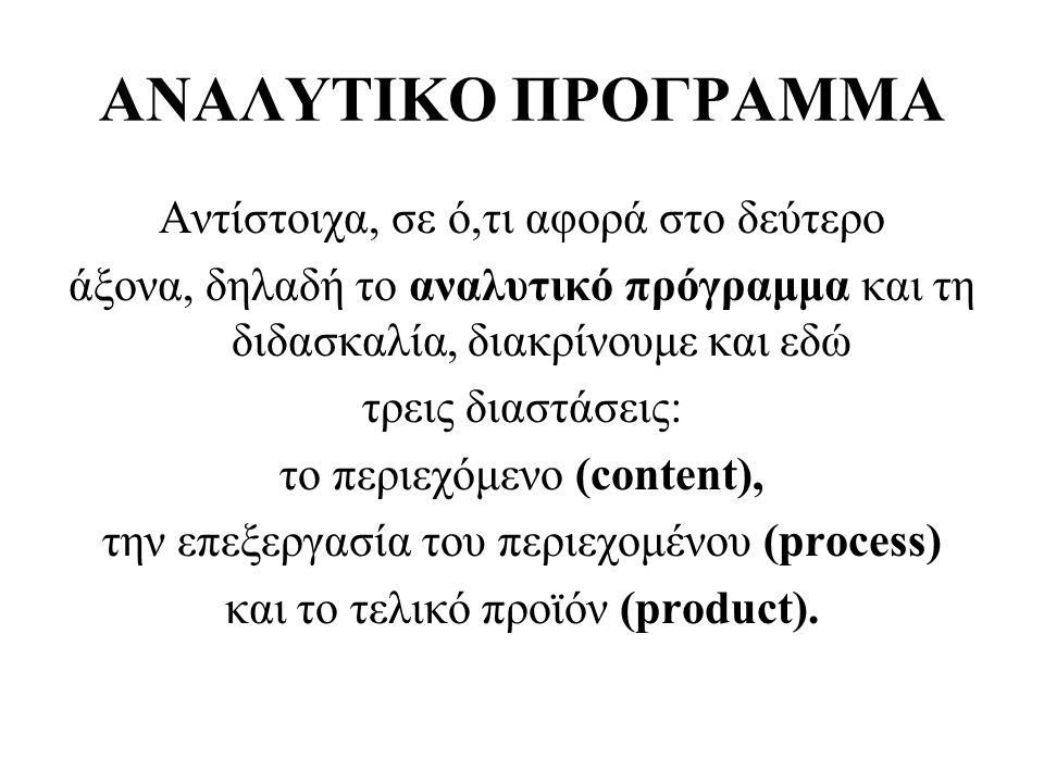 ΑΝΑΛΥΤΙΚΟ ΠΡΟΓΡΑΜΜΑ Αντίστοιχα, σε ό,τι αφορά στo δεύτερο άξονα, δηλαδή το αναλυτικό πρόγραμμα και τη διδασκαλία, διακρίνουμε και εδώ τρεις διαστάσεις: το περιεχόμενο (content), την επεξεργασία του περιεχομένου (process) και το τελικό προϊόν (product).