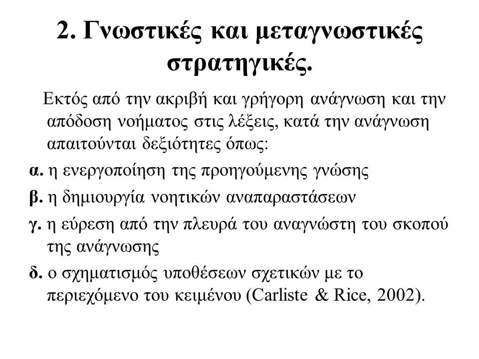 2. Γνωστικές και μεταγνωστικές στρατηγικές.