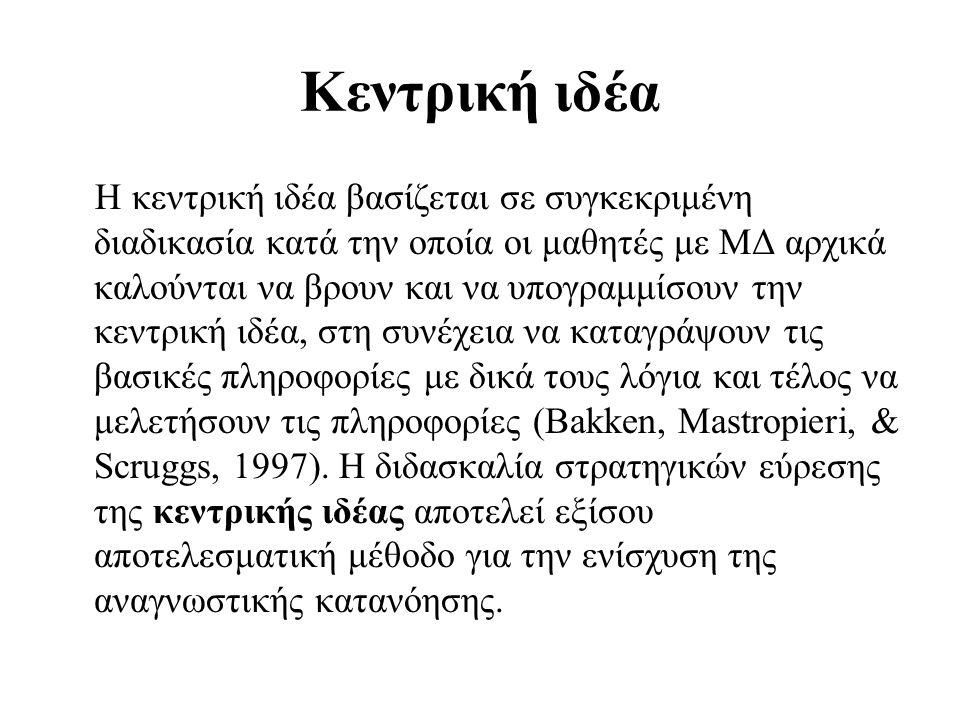 Κεντρική ιδέα Η κεντρική ιδέα βασίζεται σε συγκεκριμένη διαδικασία κατά την οποία οι μαθητές με ΜΔ αρχικά καλούνται να βρουν και να υπογραμμίσουν την κεντρική ιδέα, στη συνέχεια να καταγράψουν τις βασικές πληροφορίες με δικά τους λόγια και τέλος να μελετήσουν τις πληροφορίες (Bakken, Mastropieri, & Scruggs, 1997).