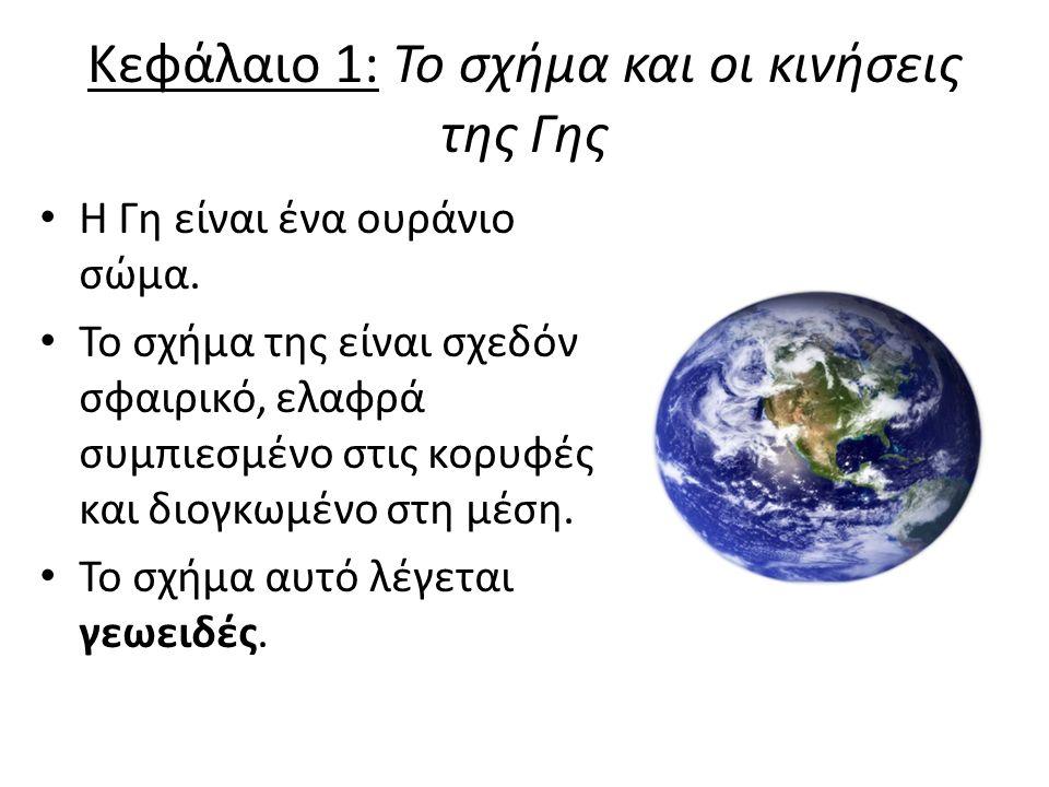 Κεφάλαιο 1: Το σχήμα και οι κινήσεις της Γης Η Γη είναι ένα ουράνιο σώμα.