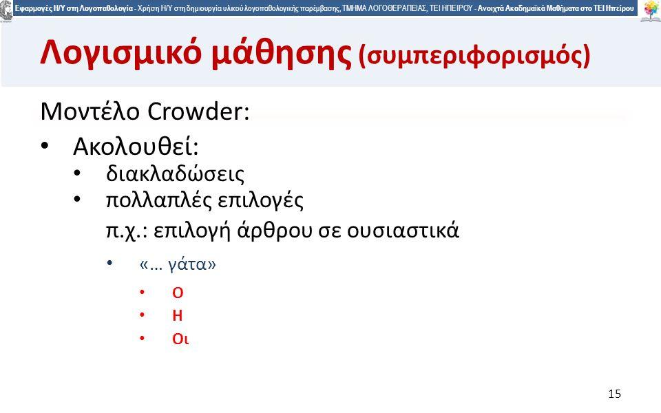 1515 Εφαρμογές Η/Υ στη Λογοπαθολογία - Χρήση Η/Υ στη δημιουργία υλικού λογοπαθολογικής παρέμβασης, ΤΜΗΜΑ ΛΟΓΟΘΕΡΑΠΕΙΑΣ, ΤΕΙ ΗΠΕΙΡΟΥ - Ανοιχτά Ακαδημαϊκά Μαθήματα στο ΤΕΙ Ηπείρου 15 Λογισμικό μάθησης (συμπεριφορισμός) Μοντέλο Crowder: Ακολουθεί: διακλαδώσεις πολλαπλές επιλογές π.χ.: επιλογή άρθρου σε ουσιαστικά «… γάτα» Ο Η Οι