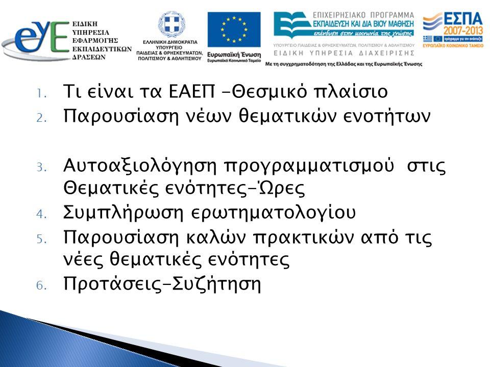 1. Τι είναι τα ΕΑΕΠ -Θεσμικό πλαίσιο 2. Παρουσίαση νέων θεματικών ενοτήτων 3. Αυτοαξιολόγηση προγραμματισμού στις Θεματικές ενότητες-Ώρες 4. Συμπλήρωσ