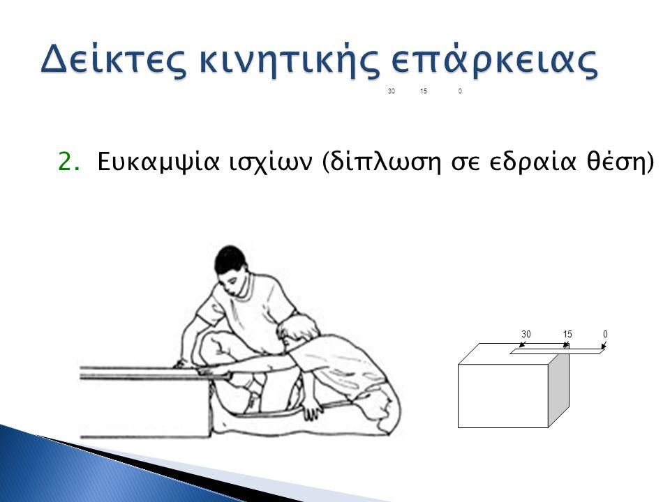 2. Ευκαμψία ισχίων (δίπλωση σε εδραία θέση) 30150 30 15 0