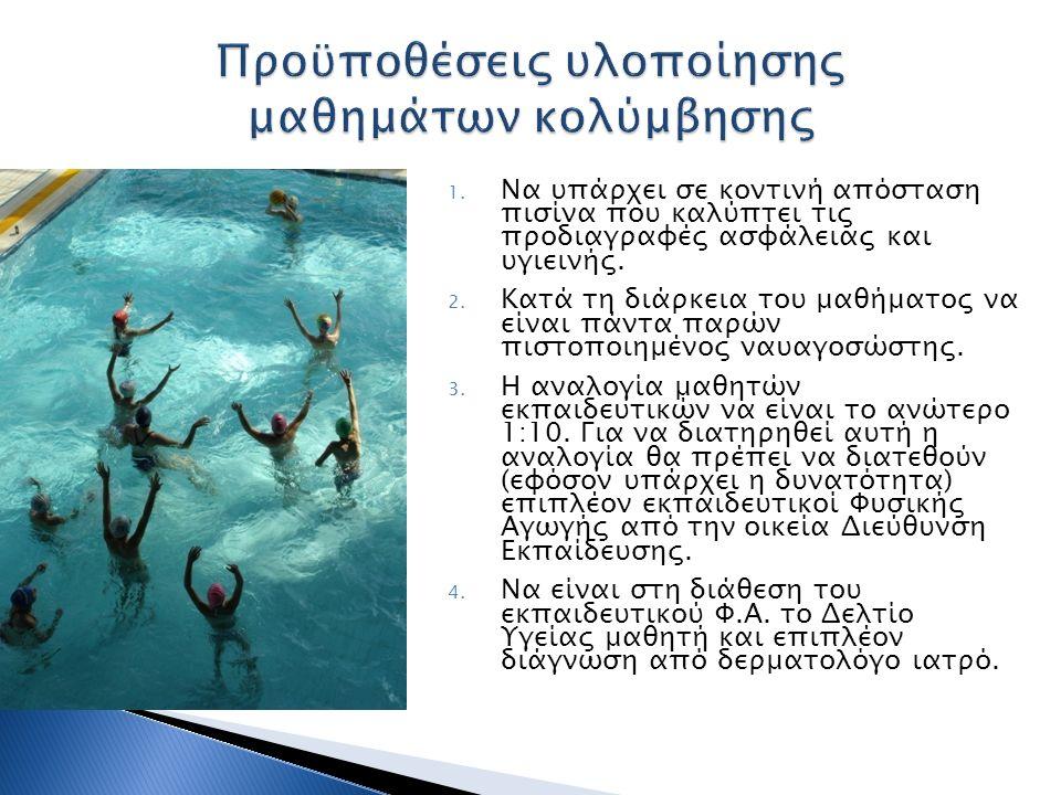 1. Να υπάρχει σε κοντινή απόσταση πισίνα που καλύπτει τις προδιαγραφές ασφάλειας και υγιεινής. 2. Κατά τη διάρκεια του μαθήματος να είναι πάντα παρών