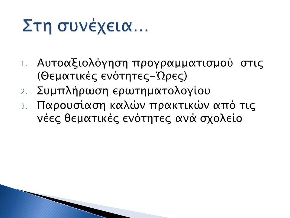 1. Αυτοαξιολόγηση προγραμματισμού στις (Θεματικές ενότητες-Ώρες) 2. Συμπλήρωση ερωτηματολογίου 3. Παρουσίαση καλών πρακτικών από τις νέες θεματικές εν
