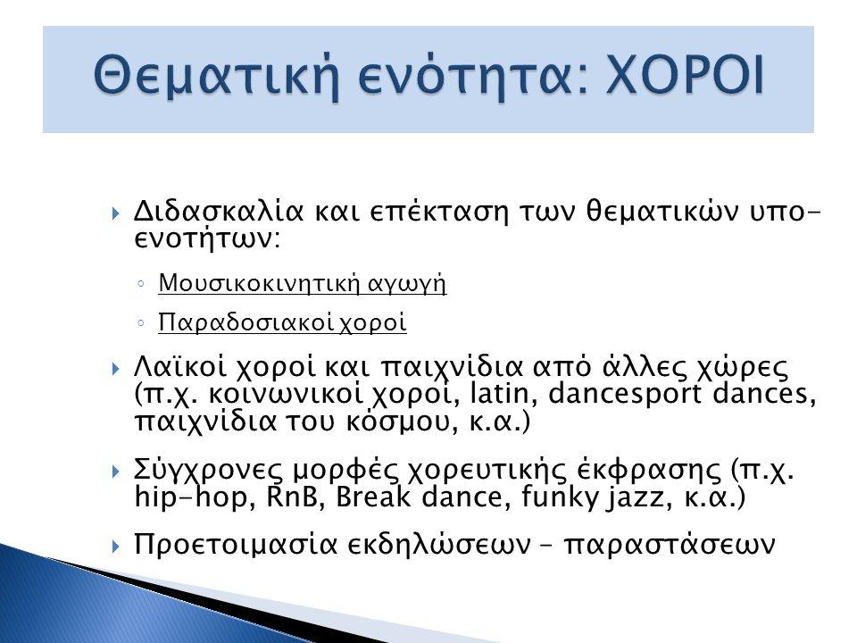 Ενδεικτική κατανομή ωρών ανά υπο-ενότητα ΘΕΜΑΤΙΚΕΣ ΥΠΟ-ΕΝΟΤΗΤΕΣΑ΄ και Β΄ τάξηΓ΄ και Δ΄ τάξη Μουσικοκινητική Αγωγή10 ώρες7 ώρες Παραδοσιακοί Χοροί10 ώρες Λαϊκοί χοροί και παιχνίδια άλλων χωρών 4-6 ώρες5-8 ώρες Σύγχρονες μορφές χορευτικής έκφρασης 4-6 ώρες5-7 ώρες Προετοιμασία εκδήλωσης - παράστασηςμέχρι 4 ώρεςμέχρι 5 ώρες ΣΥΝΟΛΟ ΩΡΩΝ ΧΟΡΩΝ 32