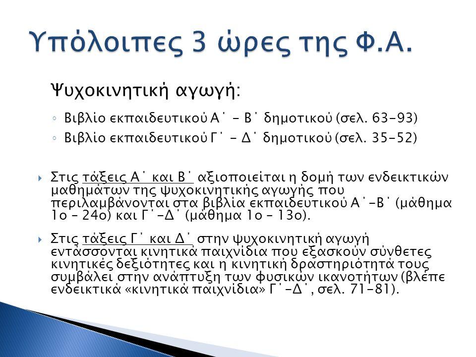 Ψυχοκινητική αγωγή: ◦ Βιβλίο εκπαιδευτικού Α΄ - Β΄ δημοτικού (σελ. 63-93) ◦ Βιβλίο εκπαιδευτικού Γ΄ - Δ΄ δημοτικού (σελ. 35-52)  Στις τάξεις Α΄ και Β