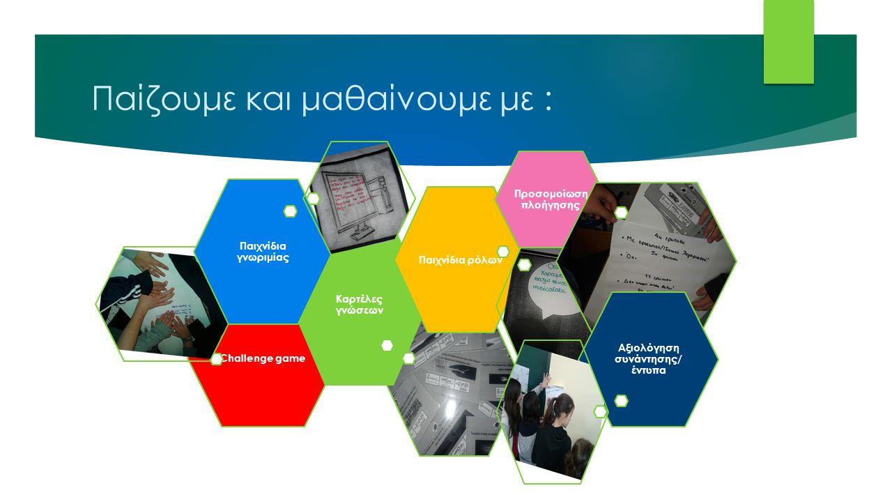Παίζουμε και μαθαίνουμε με : Challenge game Καρτέλες γνώσεων Παιχνίδια γνωριμίας Παιχνίδια ρόλων Προσομοίωση πλοήγησης Αξιολόγηση συνάντησης/ έντυπα