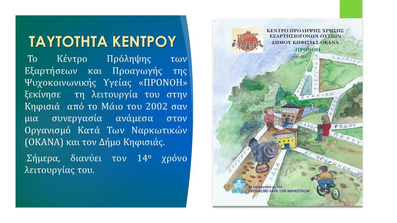 ΤΑΥΤΟΤΗΤΑ ΚΕΝΤΡΟΥ Το Κέντρο Πρόληψης των Εξαρτήσεων και Προαγωγής της Ψυχοκοινωνικής Υγείας «ΠΡΟΝΟΗ» ξεκίνησε τη λειτουργία του στην Κηφισιά από το Μάιο του 2002 σαν μια συνεργασία ανάμεσα στον Οργανισμό Κατά Των Ναρκωτικών (ΟΚΑΝΑ) και τον Δήμο Κηφισιάς.