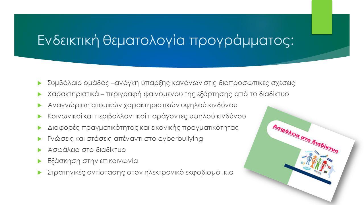 Ενδεικτική θεματολογία προγράμματος:  Συμβόλαιο ομάδας –ανάγκη ύπαρξης κανόνων στις διαπροσωπικές σχέσεις  Χαρακτηριστικά – περιγραφή φαινόμενου της