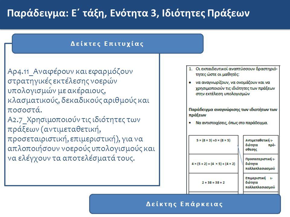 Παράδειγμα: Ε΄ τάξη, Ενότητα 3, Ιδιότητες Πράξεων Αρ4.11_Αναφέρουν και εφαρμόζουν στρατηγικές εκτέλεσης νοερών υπολογισμών με ακέραιους, κλασματικούς, δεκαδικούς αριθμούς και ποσοστά.
