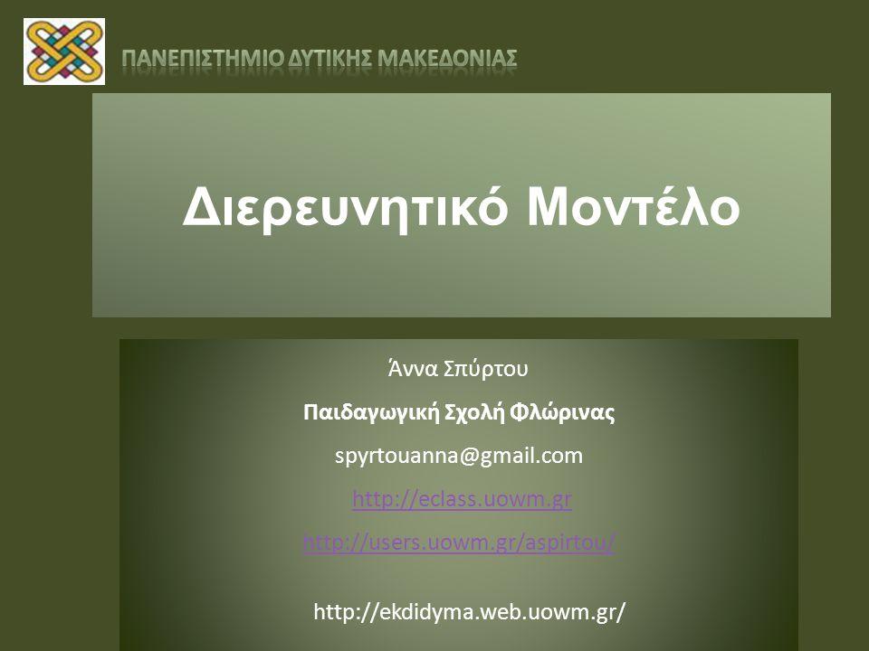 Διερευνητικό Μοντέλο Άννα Σπύρτου Παιδαγωγική Σχολή Φλώρινας spyrtouanna@gmail.com http://eclass.uowm.gr http://users.uowm.gr/aspirtou/ http://ekdidyma.web.uowm.gr/