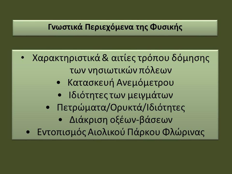 Χαρακτηριστικά & αιτίες τρόπου δόμησης των νησιωτικών πόλεων Κατασκευή Ανεμόμετρου Ιδιότητες των μειγμάτων Πετρώματα/Ορυκτά/Ιδιότητες Διάκριση οξέων-βάσεων Εντοπισμός Αιολικού Πάρκου Φλώρινας Χαρακτηριστικά & αιτίες τρόπου δόμησης των νησιωτικών πόλεων Κατασκευή Ανεμόμετρου Ιδιότητες των μειγμάτων Πετρώματα/Ορυκτά/Ιδιότητες Διάκριση οξέων-βάσεων Εντοπισμός Αιολικού Πάρκου Φλώρινας Γνωστικά Περιεχόμενα της Φυσικής