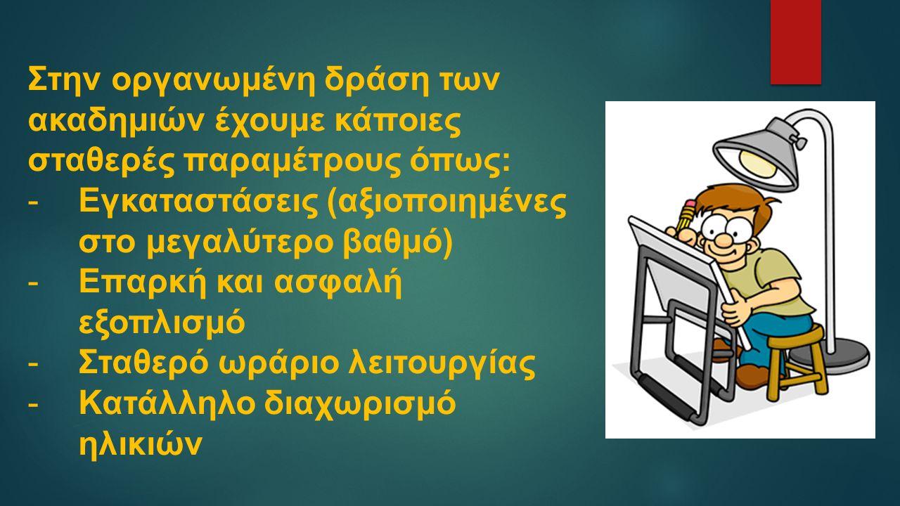 Στην οργανωμένη δράση των ακαδημιών έχουμε κάποιες σταθερές παραμέτρους όπως: -Εγκαταστάσεις (αξιοποιημένες στο μεγαλύτερο βαθμό) -Επαρκή και ασφαλή εξοπλισμό -Σταθερό ωράριο λειτουργίας -Κατάλληλο διαχωρισμό ηλικιών