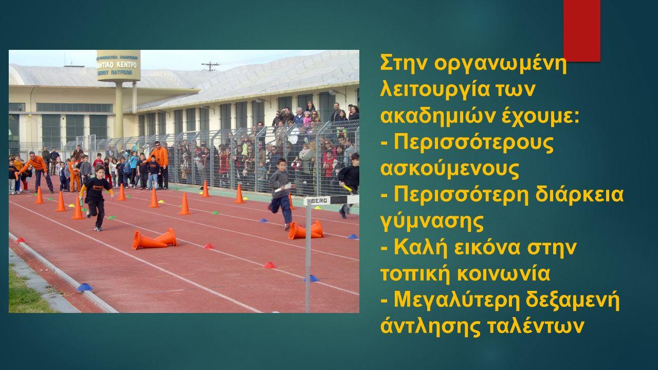 Στην οργανωμένη λειτουργία των ακαδημιών έχουμε: - Περισσότερους ασκούμενους - Περισσότερη διάρκεια γύμνασης - Καλή εικόνα στην τοπική κοινωνία - Μεγαλύτερη δεξαμενή άντλησης ταλέντων