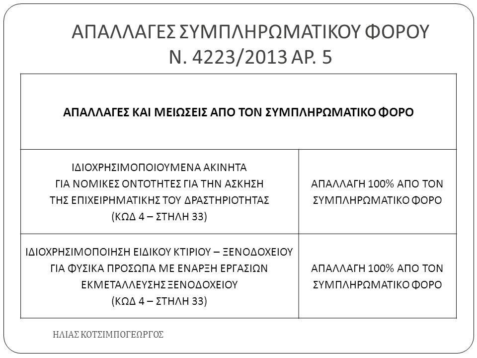 ΑΠΑΛΛΑΓΕΣ ΣΥΜΠΛΗΡΩΜΑΤΙΚΟΥ ΦΟΡΟΥ Ν. 4223/2013 ΑΡ. 5 ΗΛΙΑΣ ΚΟΤΣΙΜΠΟΓΕΩΡΓΟΣ ΑΠΑΛΛΑΓΕΣ ΚΑΙ ΜΕΙΩΣΕΙΣ ΑΠΟ ΤΟΝ ΣΥΜΠΛΗΡΩΜΑΤΙΚΟ ΦΟΡΟ ΙΔΙΟΧΡΗΣΙΜΟΠΟΙΟΥΜΕΝΑ ΑΚΙΝΗ