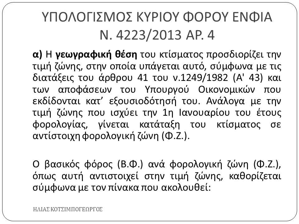 ΥΠΟΛΟΓΙΣΜΟΣ ΚΥΡΙΟΥ ΦΟΡΟΥ ΕΝΦΙΑ Ν. 4223/2013 ΑΡ. 4 ΗΛΙΑΣ ΚΟΤΣΙΜΠΟΓΕΩΡΓΟΣ α ) Η γεωγραφική θέση του κτίσματος προσδιορίζει την τιμή ζώνης, στην οποία υπ
