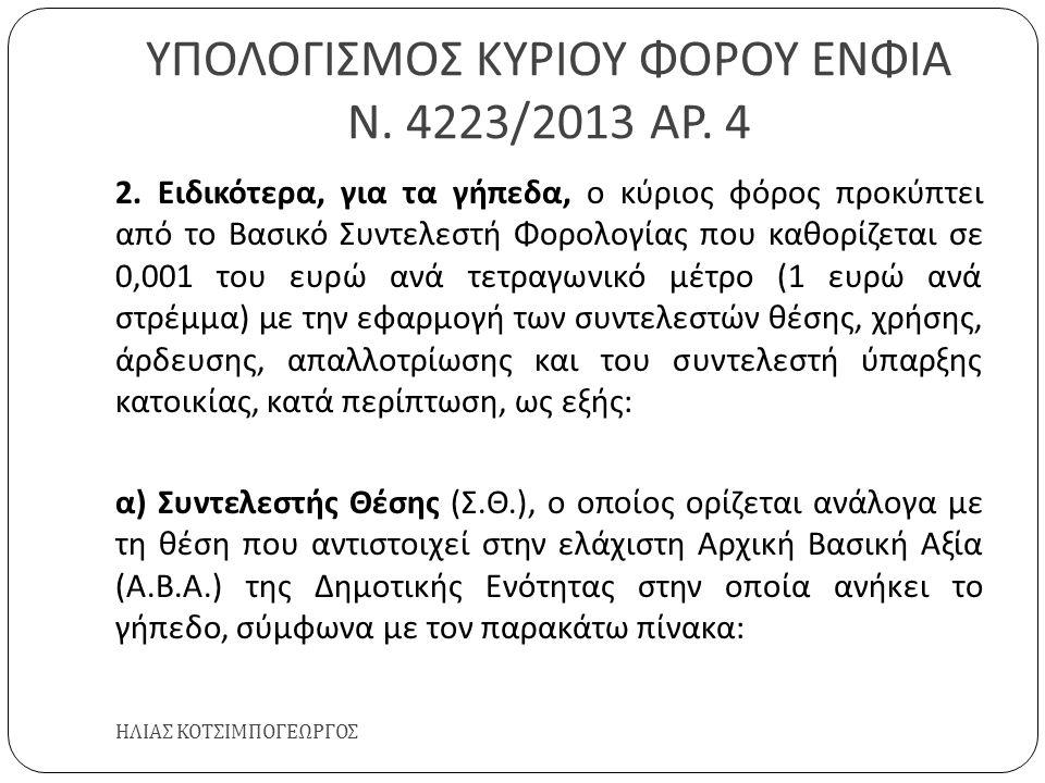 ΥΠΟΛΟΓΙΣΜΟΣ ΚΥΡΙΟΥ ΦΟΡΟΥ ΕΝΦΙΑ Ν. 4223/2013 ΑΡ. 4 ΗΛΙΑΣ ΚΟΤΣΙΜΠΟΓΕΩΡΓΟΣ 2. Ειδικότερα, για τα γήπεδα, ο κύριος φόρος προκύπτει από το Βασικό Συντελεστ