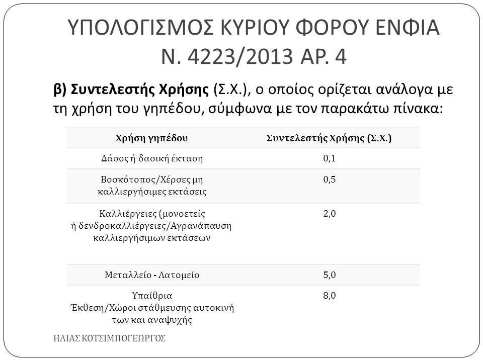 ΥΠΟΛΟΓΙΣΜΟΣ ΚΥΡΙΟΥ ΦΟΡΟΥ ΕΝΦΙΑ Ν. 4223/2013 ΑΡ. 4 ΗΛΙΑΣ ΚΟΤΣΙΜΠΟΓΕΩΡΓΟΣ β ) Συντελεστής Χρήσης ( Σ. Χ.), ο οποίος ορίζεται ανάλογα με τη χρήση του γηπ