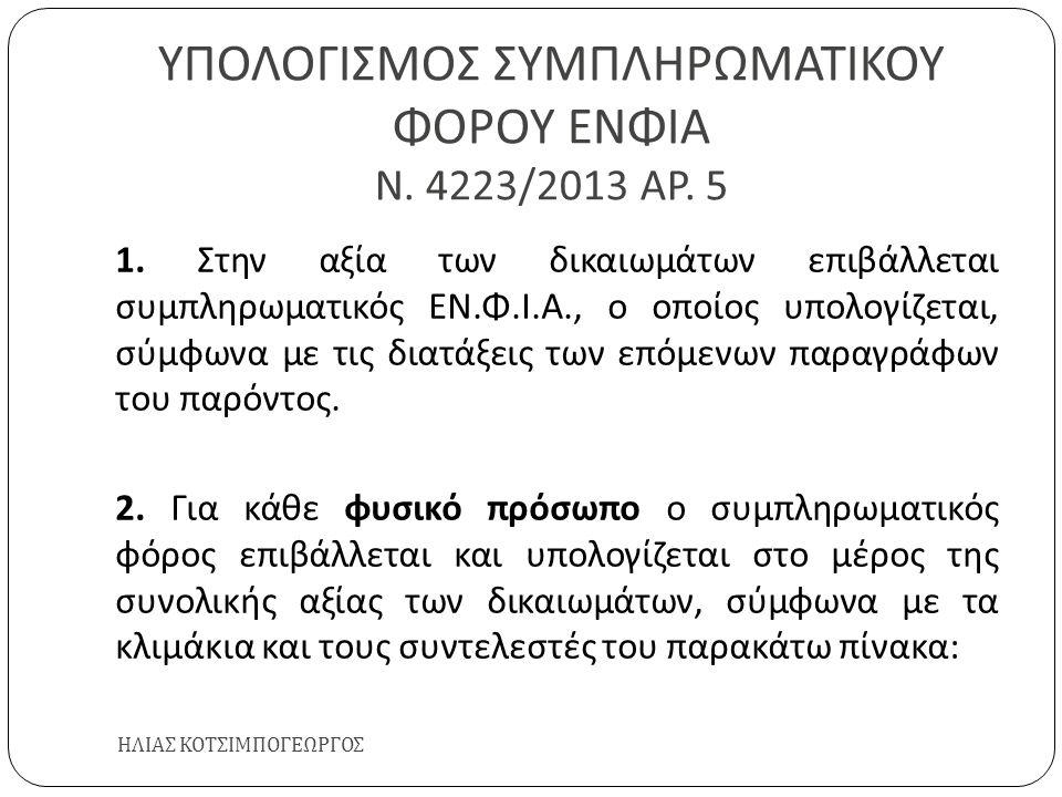 ΥΠΟΛΟΓΙΣΜΟΣ ΣΥΜΠΛΗΡΩΜΑΤΙΚΟΥ ΦΟΡΟΥ ΕΝΦΙΑ Ν. 4223/2013 ΑΡ. 5 ΗΛΙΑΣ ΚΟΤΣΙΜΠΟΓΕΩΡΓΟΣ 1. Στην αξία των δικαιωμάτων επιβάλλεται συμπληρωματικός ΕΝ. Φ. Ι. Α.